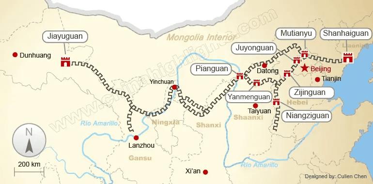 mapa de la gran muralla china